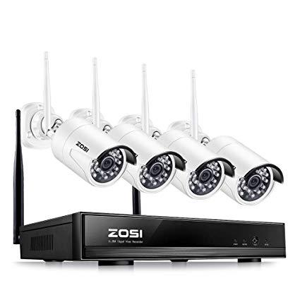 ZOSI 4CH 960P NVR IP Caméra Wifi Sans Fil Kit VidéoSurveillance Extérieur CCTV